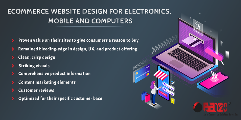 eCommerce website design for electronics, mobile and computers